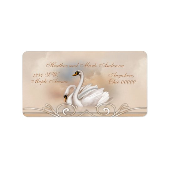 Elegan weißer Schwan-Hochzeits-Rücksendeadressen-A Adressaufkleber