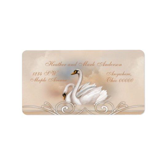 Elegan weißer Schwan-Hochzeits-Rücksendeadressen-A Adressetiketten