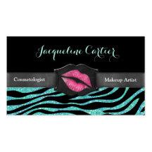 Elegant Aqua Zebra Glitter Kiss Cosmetologist Business Card Templates