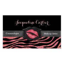 Elegant Coral Zebra Glitter Kiss Cosmetologist Business Card Template