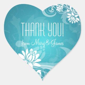 Elegant danke blaue der BlumenWirbel Herz Sticker