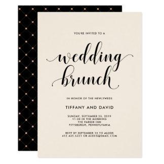 Elegant erröten Posten-Hochzeits-Brunch-Einladung Karte