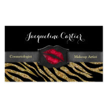 Elegant Gold Zebra Glitter Kiss Cosmetologist Business Card