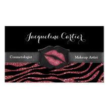 Elegant Marsala Zebra Glitter Kiss Cosmetologist Business Card Template