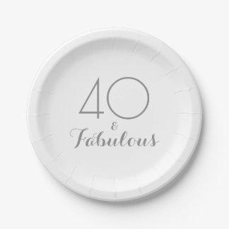 Elegante 40 und fabelhafter Party-Teller Pappteller