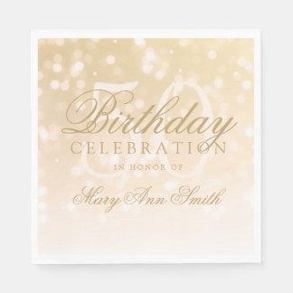 Elegante 50. Geburtstags-GoldBokeh Schein-Lichter Servietten