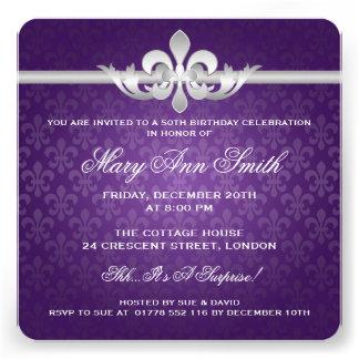 Elegante 50 Geburtstags-Party-Lilie lila Personalisierte Ankündigung