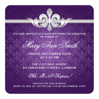 Elegante 50. Geburtstags-Party-Lilie lila Quadratische 13,3 Cm Einladungskarte