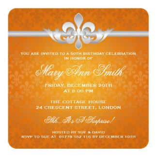 Elegante 50. Geburtstags-Party-Lilien-Orange Quadratische 13,3 Cm Einladungskarte