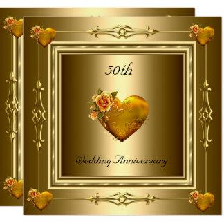 Elegante 50. Hochzeitstag-Goldherzen 2 Karte