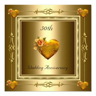 Elegante 50. Hochzeitstag-Goldherzen 2 Quadratische 13,3 Cm Einladungskarte