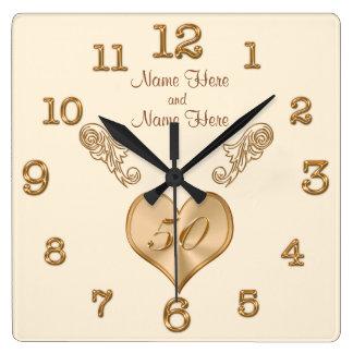 Elegante 50. Hochzeitstag-Uhr mit NAMEN Quadratische Wanduhr