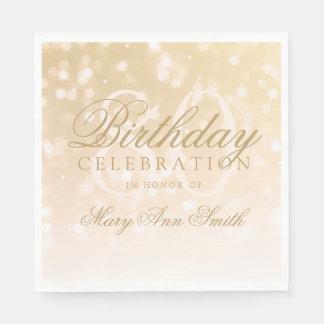 Elegante 80. Geburtstags-GoldBokeh Schein-Lichter Papierserviette