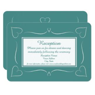Elegante aquamarine Hochzeits-Herz-Empfangs-Karte 8,9 X 12,7 Cm Einladungskarte