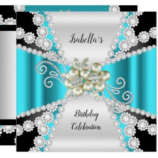 Elegante aquamarine Perlen-Schwarz-weißer Karte