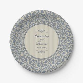 Elegante beige und blaue barocke Muster-Hochzeit Pappteller