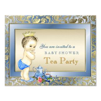 Elegante Blau-und Goldjungen-Tee-Party-Baby-Dusche 10,8 X 14 Cm Einladungskarte