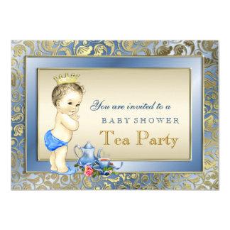 Elegante Blau-und Goldjungen-Tee-Party-Baby-Dusche 11,4 X 15,9 Cm Einladungskarte