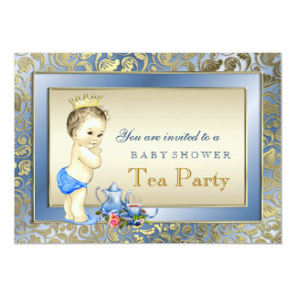 Elegante Blau-und Goldjungen-Tee-Party-Baby-Dusche 12,7 X 17,8 Cm Einladungskarte