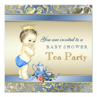Elegante Blau-und Goldjungen-Tee-Party-Baby-Dusche Quadratische 13,3 Cm Einladungskarte