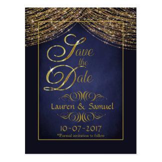 Elegante Blau-und GoldSave the Date Postkarten