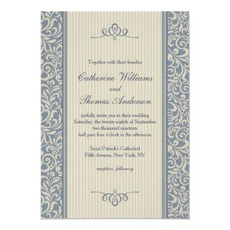 Elegante blaue Damast-Muster-Hochzeit 12,7 X 17,8 Cm Einladungskarte