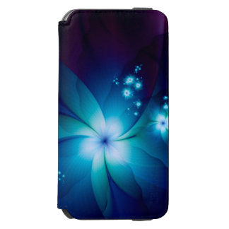 Elegante blaue Fraktal-Blumen Incipio Watson™ iPhone 6 Geldbörsen Hülle