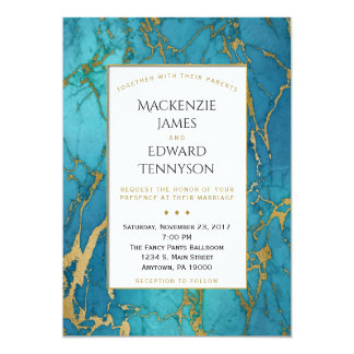 Elegante blaue Goldmarmor-Hochzeits-Einladung 12,7 X 17,8 Cm Einladungskarte