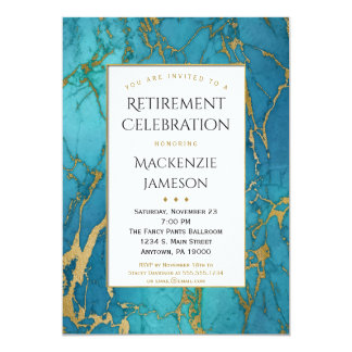 Elegante blaue Goldmarmor-Ruhestands-Einladung 12,7 X 17,8 Cm Einladungskarte
