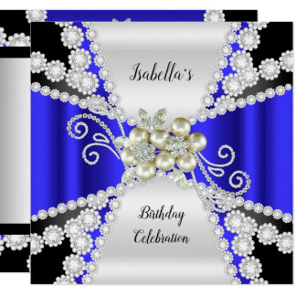 Elegante blaue Perlen-Schwarz-weißer Karte