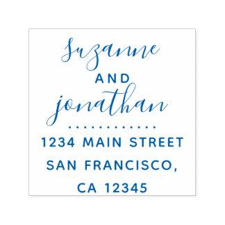 Elegante blaue Skript-Hochzeits-Rücksendeadresse Permastempel