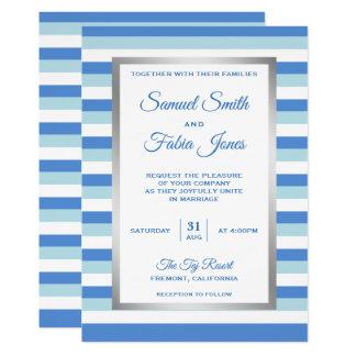 Elegante blaue Streifen-Muster-Hochzeits-Einladung Karte