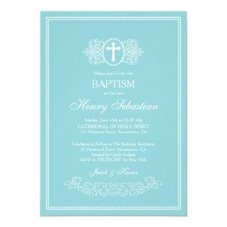 Elegante blaue Taufe-Einladung 12,7 X 17,8 Cm Einladungskarte