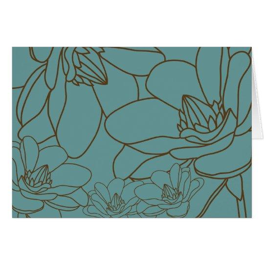 Elegante Blumen danken Ihnen zu kardieren - Blau Grußkarte