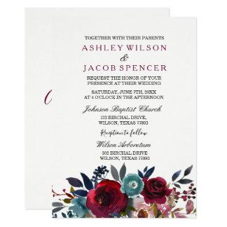 Elegante Blumenburgunder-Frühlings-Hochzeit laden Karte