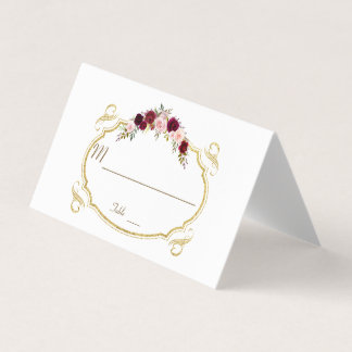 Elegante Blumenfall-Tischnummer Burgunders Marsala Platzkarte