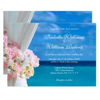 Elegante Blumenozean-Strand-Sommer-Hochzeit 12,7 X 17,8 Cm Einladungskarte