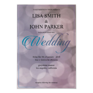 Elegante Bokeh Hochzeits-Einladung Karte