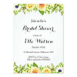 Elegante Brautparty-mit Blumeneinladung 12,7 X 17,8 Cm Einladungskarte