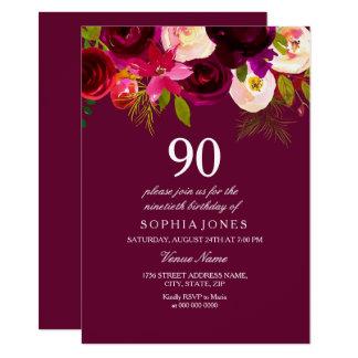 Elegante Burgunder-Blumen-90. Geburtstag laden ein Karte
