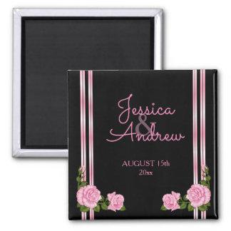 Elegante Chic-Ecken-Rosen-Blumenstrauß-Hochzeit Quadratischer Magnet
