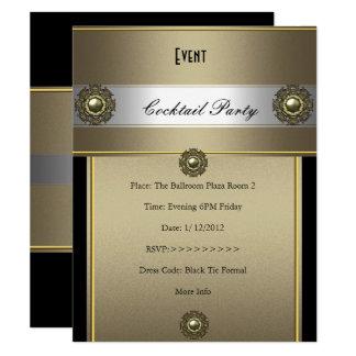 Elegante Cocktail-Party-Schwarz-Silber-Bronze Karte