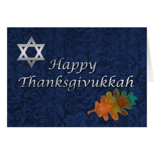 Elegante Damast Thanksgivukkah Gewohnheit Grußkarte