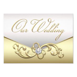 Elegante Diamant-Silber-und 12,7 X 17,8 Cm Einladungskarte