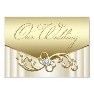 Elegante Diamant-Strudel-Goldhochzeits-Einladungen Karte