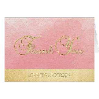 Elegante einzigartige rosa Aquarell-Goldfolie Karte
