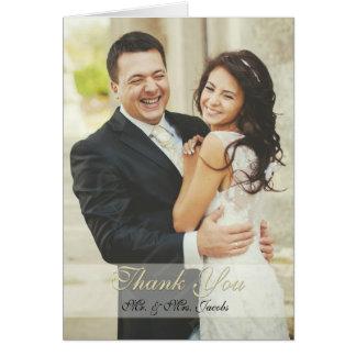 Elegante Elfenbein-Foto-Hochzeit danken Ihnen Karte
