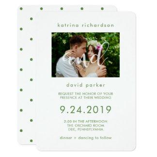 Elegante Foto-Hochzeits-Einladung des Grün-| 12,7 X 17,8 Cm Einladungskarte