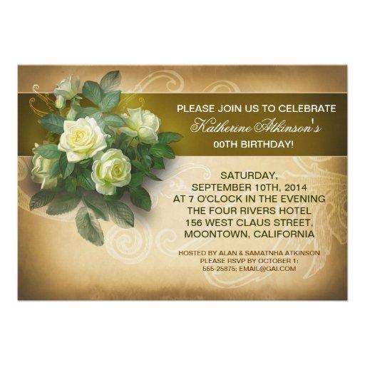 elegante Geburtstagseinladungen der Vintagen Rosen Personalisierte Ankündigungskarte
