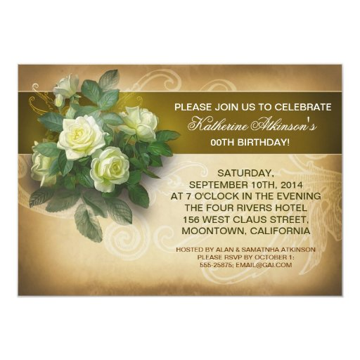 elegante Geburtstagseinladungen der Vintagen Rosen 12,7 X 17,8 Cm Einladungskarte